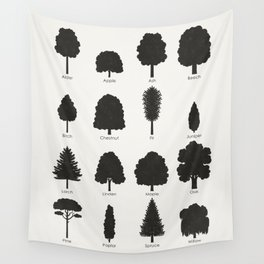 Infographic Guide for Tree Species by Shapes or Silhouette Wall Tapestry