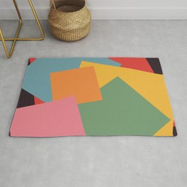 Abstract Colorful Retro Colored Geometric Squares Rug