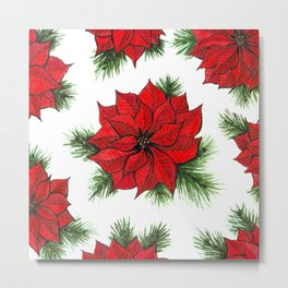 Poinsettia and fir branches pattern Metal Print