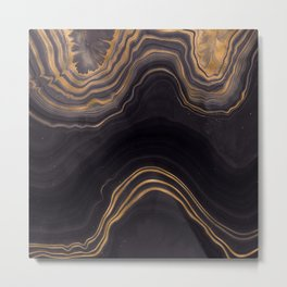 Dark Night Marble With Gold Glitter Waves Metal Print