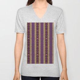 Medieval Stripe in Magenta By Danae Anastasiou Unisex V-Neck