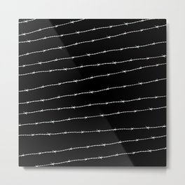 Cool black and white barbed wire pattern Metal Print