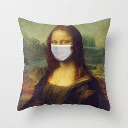Mona Lisa with Respirator Mask Throw Pillow