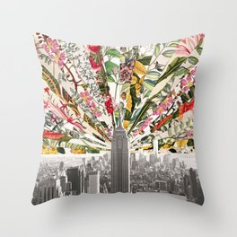 Vintage Blooming New York Throw Pillow