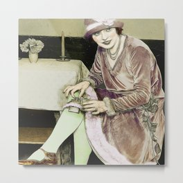 Vintage Woman With Hip Flask Metal Print