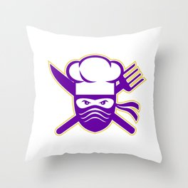 Ninja Chef Crossed Knife Fork Icon Throw Pillow
