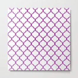 Moroccan Trellis (Purple & White Pattern) Metal Print