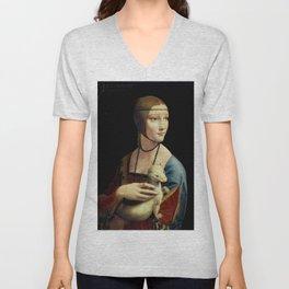 Leonardo da Vinci - The Lady with an Ermine Unisex V-Neck