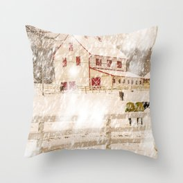 Snow Fall On The Farm Throw Pillow