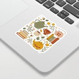 Flowery Books and Tea Sticker