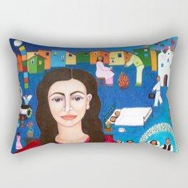 Violeta Parra playing guitar Rectangular Pillow