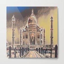 The Taj Mahal in Gloomy Light Metal Print