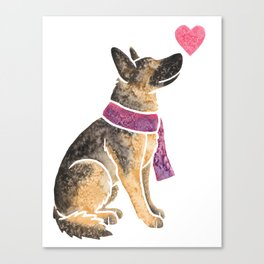 Watercolour German Shepherd Dog Canvas Print
