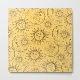 Yellow Magic Celestial Sun Moon Stars Metal Print