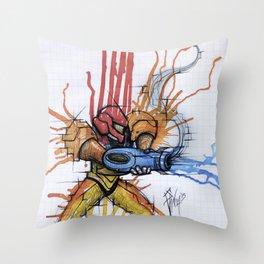 Metroid Samus Ink Throw Pillow