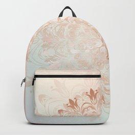 Rose Gold Blush Mint Floral Mandala Backpack