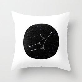 Virgo star sign zodiac star chart constellation black and white Throw Pillow