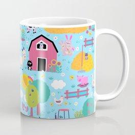 Farm Life Pink Pastel Barn Animals Pattern Coffee Mug