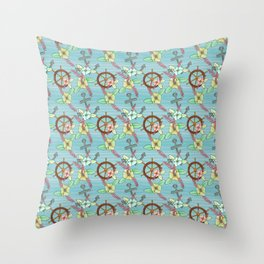 Nautical Kitsch Anchors and Ships Wheel Floral Pattern Throw Pillow