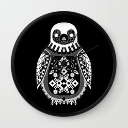 Black Penguin pattern artic Ecopop Wall Clock