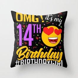 OMG! 14th Birthday Party Celebration Throw Pillow