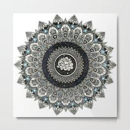 Black and White Flower Mandala with Blue Jewels Metal Print