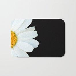 Hello Daisy - White Flower Black Background #decor #society6 #buyart Bath Mat
