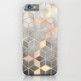 Gold Grey Gradient Cube Art print iPhone Case