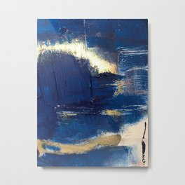 Halo [2]: a minimal, abstract mixed-media piece in blue and gold by Alyssa Hamilton Art Metal Print