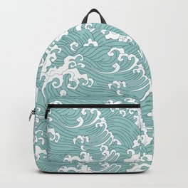 Traditional Hand Drawn Japanese Wave Ink Backpack