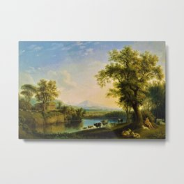 Italian Landscape with Cattle and Roman Temple by Jakob Philipp Hackert Metal Print