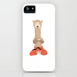 Alpaca Shirt With A Cute Illustration Of Alpaca Llama With A Smile On His Face T-shirt Design iPhone Case