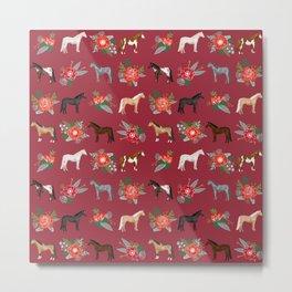 Horse Christmas Floral - christmas, xmas, horse, horses, farm, holiday, Metal Print