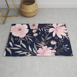 Modern, Floral Prints, Pink and Navy Blue, Art for Walls Rug