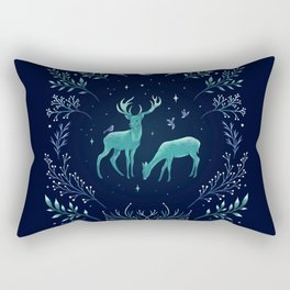Deers in the Moonlight - Frosted Mint Rectangular Pillow