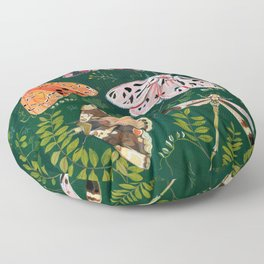 Moths and dragonfly Floor Pillow