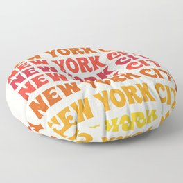 New York City - throwback 70's style colorful typography minimal decor art 1970s Floor Pillow