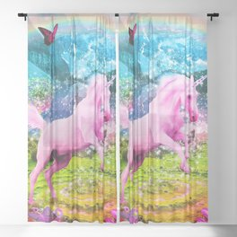 Vlentina' Unicorn Sheer Curtain
