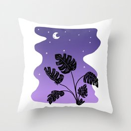 Just Before Dawn in Paradise - Monstera Plant Throw Pillow