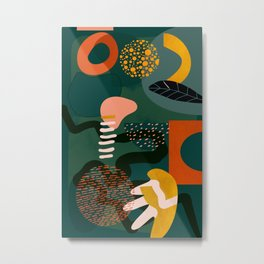 mid century shapes garden party Metal Print