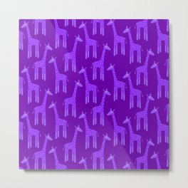 Giraffes-Purple Metal Print