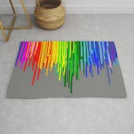 Rainbow Drips Gray Rug