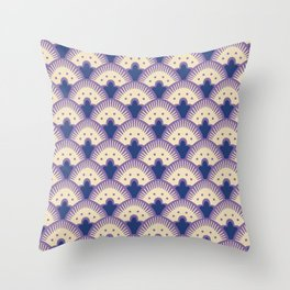 Fan Pattern Lavender and Blue 991 Throw Pillow