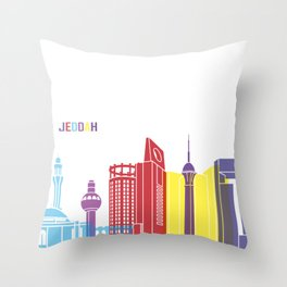 Jeddah skyline pop Throw Pillow