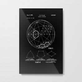 Buckminster Fuller 1961 Geodesic Structures Patent - White on Black Metal Print