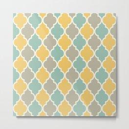 Colorful Quatrefoil Lattice Pattern 139 Yellow Sage and Grey Metal Print