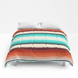 Navajo White, Turquoise and Burnt Orange Southwest Serape Blanket Stripes Comforters