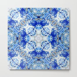 Azurite with a geometric kaleidoscopic design Metal Print