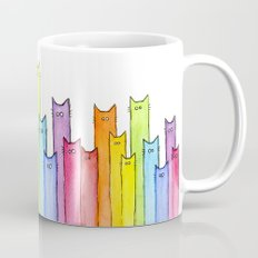 Cat Rainbow Watercolor Whimsical Animals Cats Pattern Coffee Mug