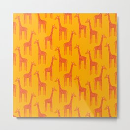 Giraffes-Orange Metal Print